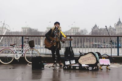 a female street performer