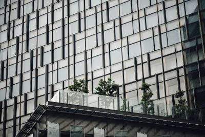 glass building with terrace