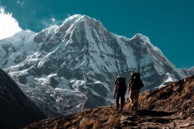 two hikers on mountain