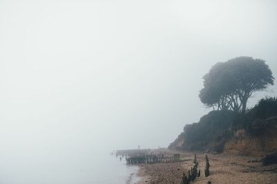 foggy ruined bay