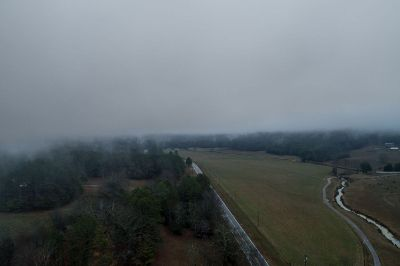 foggy and rural countryside