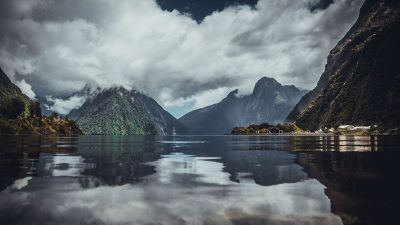 lake mirroring mountains