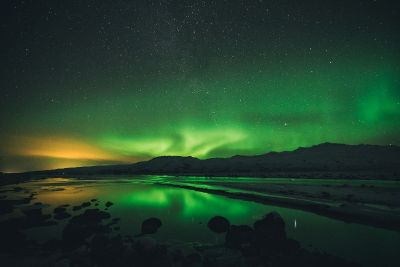 aurora borealis and mountains