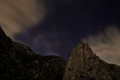 starry sky over a mountain