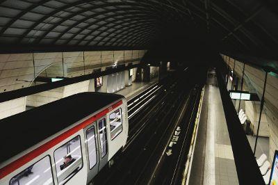 dark subway with train