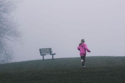 girl running at park
