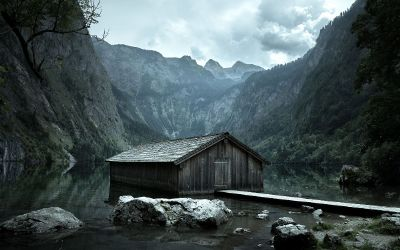 lonely cabin between mountains