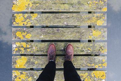 painted wooded walkway