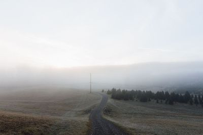 road leading to fog