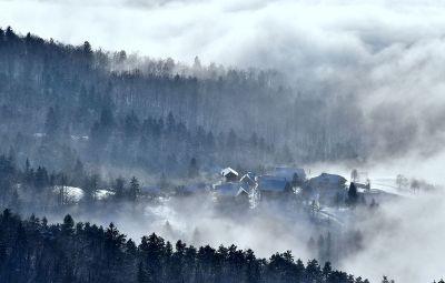 misty mountain town