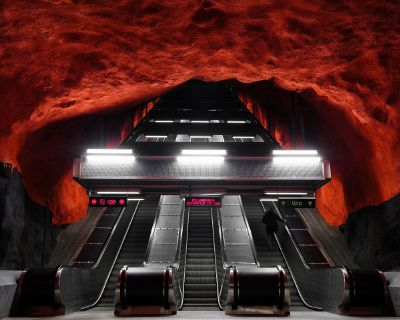 escalator on red cave