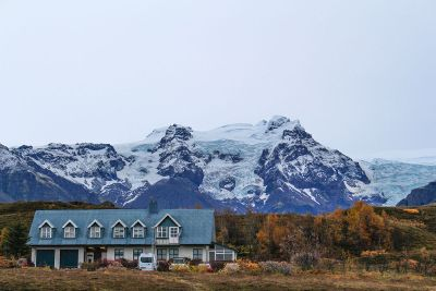 cold mountains and house