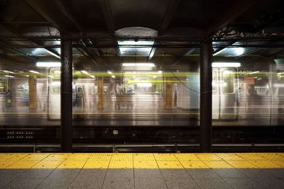 busy american subway train