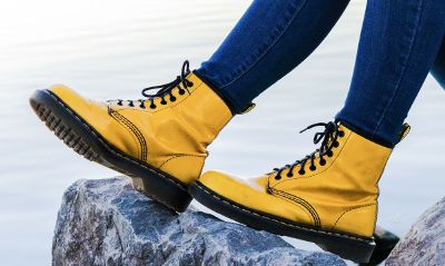 yellow boots on rock