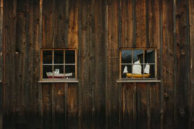the ships stands in window