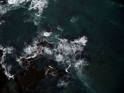 dark ocean and rocks
