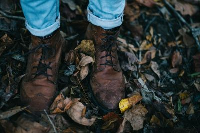 boots on dried leaves