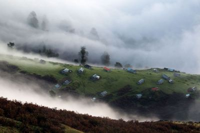 hillside in the clouds