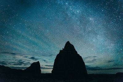 rocky outcropping against starry sky