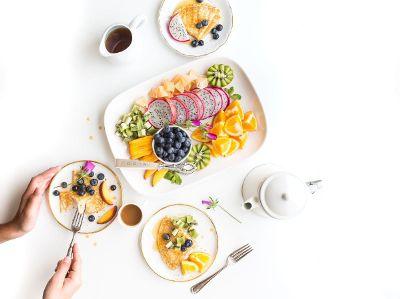 healthy fruit and crepe breakfast