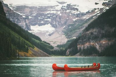 kayaks on a lake