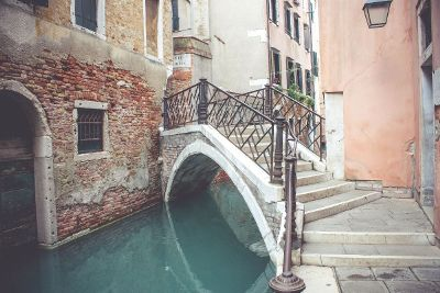 stairs over a canal of water