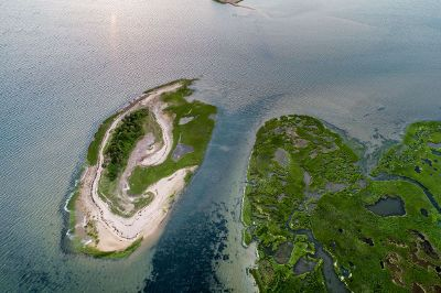 aerial photo of an island