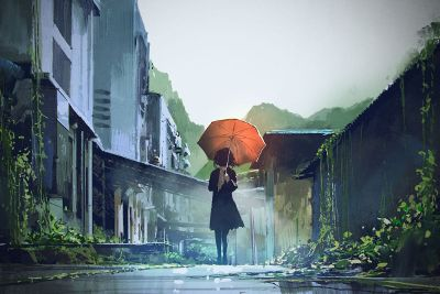 painting of girl holding umbrella