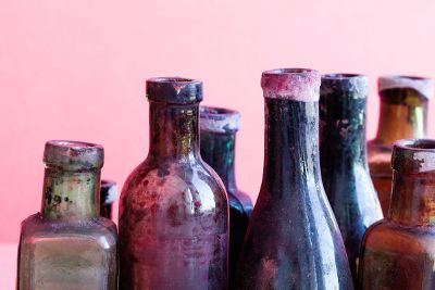 colorful dirty glass bottles