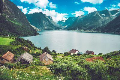 village next to lake