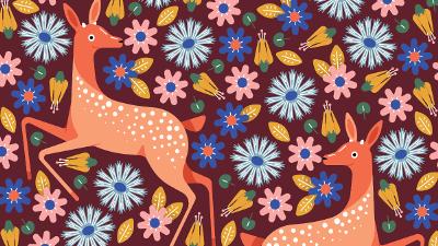 deer and floral print