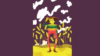 scarecrow in wheat field art
